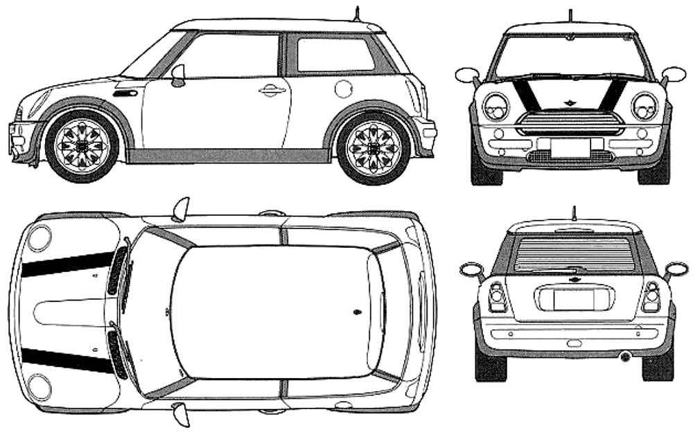 Mini Cooper Line Drawing Sketch Coloring Page Mini Coopers