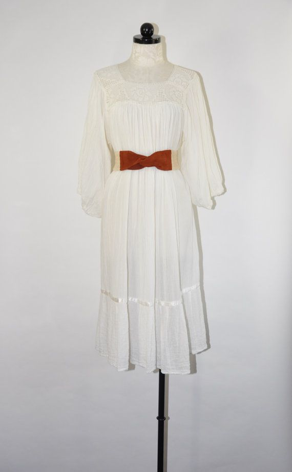 70s white bohemian dress / 1970s boho cotton crepe by QuietUnrest