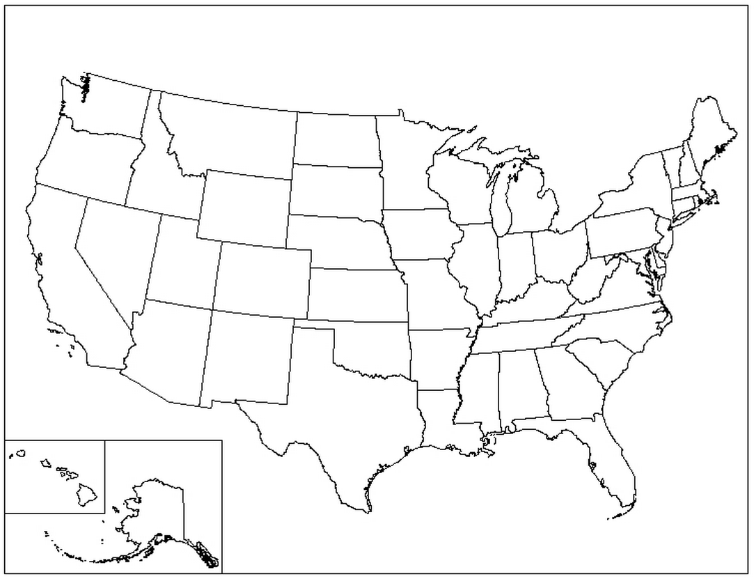 Finicky Empty Us State Map Outline Of Us States Without