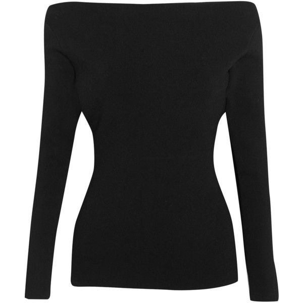 Dion Lee Cutout stretch-ponte top (£415) via Polyvore featuring tops, black, stretch top, cut-out tops, dion lee, stretchy tops and slimming tops