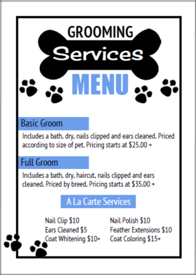 Dog Grooming Price List Templates Bundle 14 Https Www