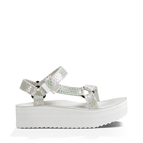 Teva Womens Flatform Universal Iridescent Sandal White 8 M US -- Check this awesome product by going to the link at the image.