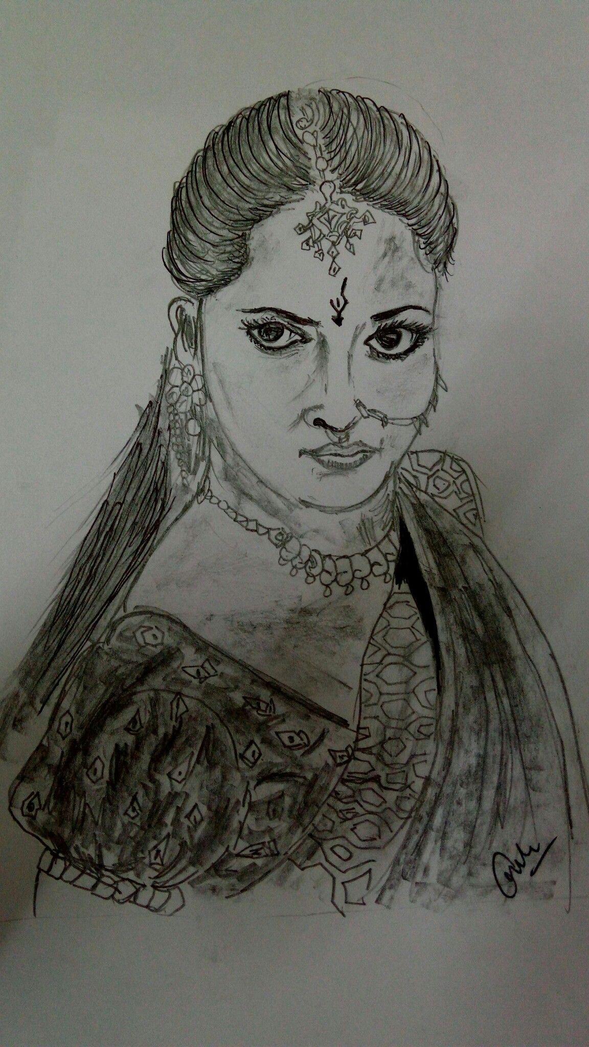 Bahubali 2 sketch of anushka shetty