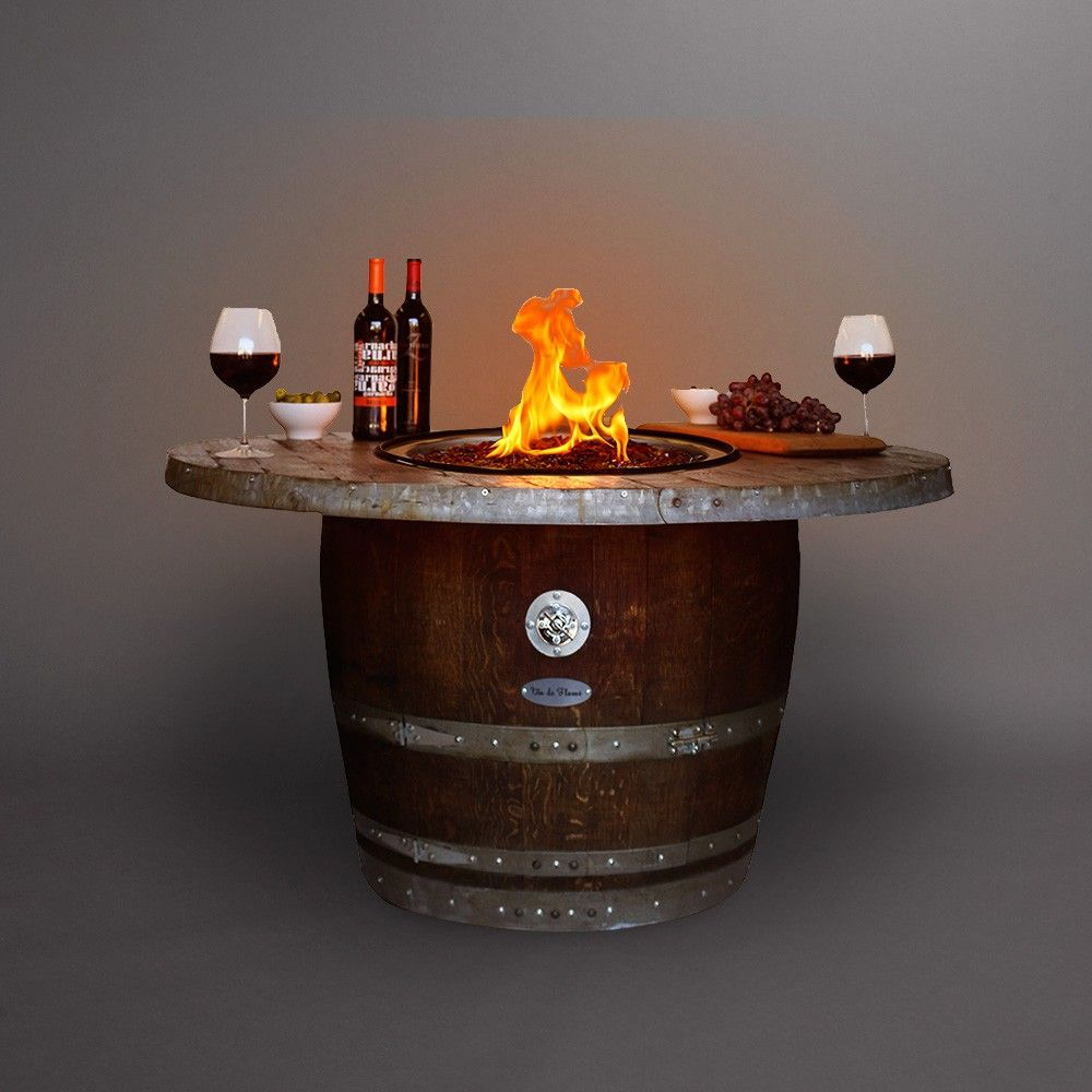 Wine Barrel Fire Pit Table Part - 39: Reserve Wine Barrel Fire Pit With Wood Stave Top