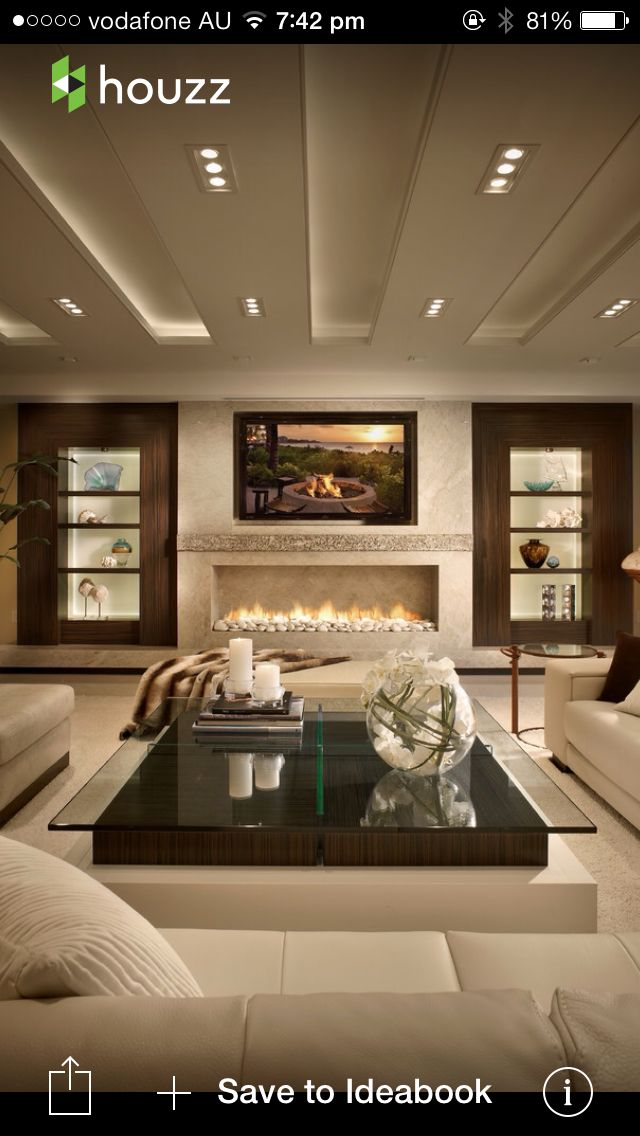 Warm and stylish living room with dropped ceiling panels #design