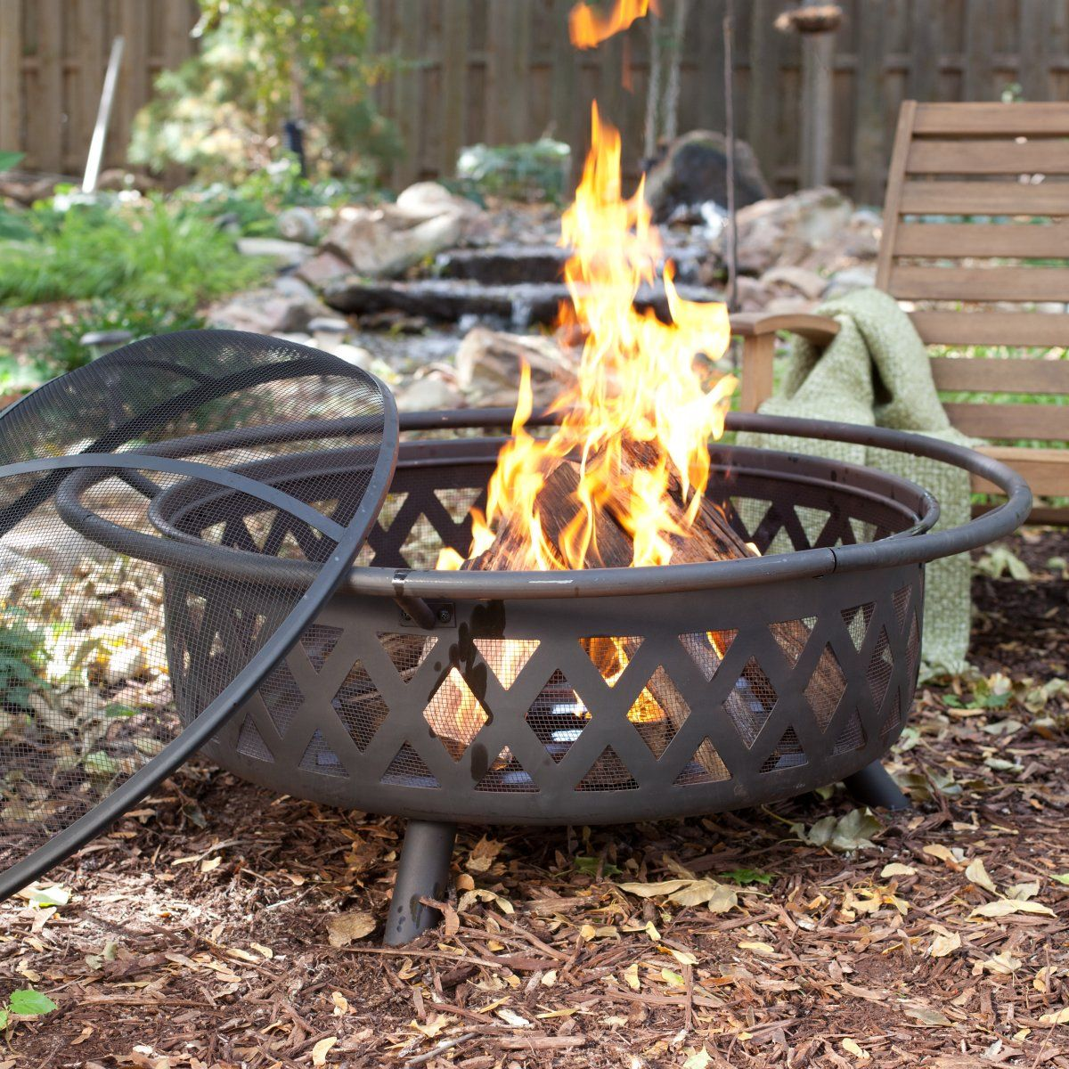 Extra Large 36 in. Black Diamante Fire Pit - Wood Burning ...