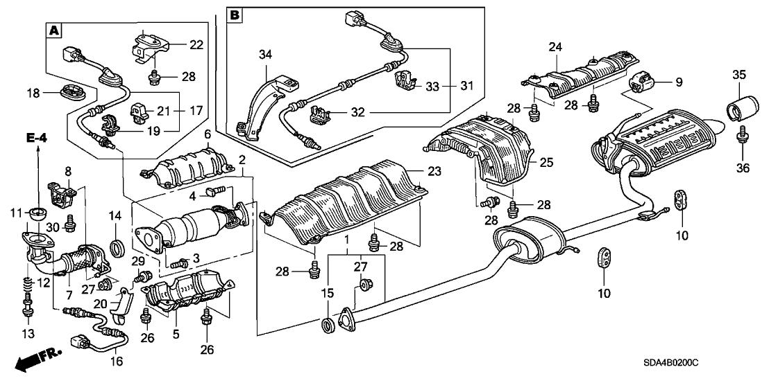 29 1997 Honda Accord Exhaust System Diagram