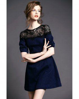 CD06167 Denim black skirt splice elasticity dress