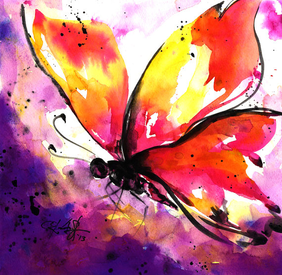 Butterfly Watercolor Painting Pink Purple Yellow Purple Etsy In 2021 Butterfly Watercolor Abstract Watercolor Butterfly Painting