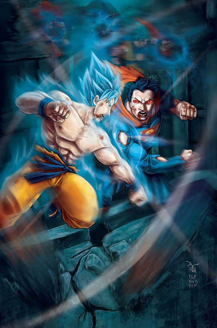 Goku Vs Superman By Artrobot9000 Crossoverparodies Pinterest