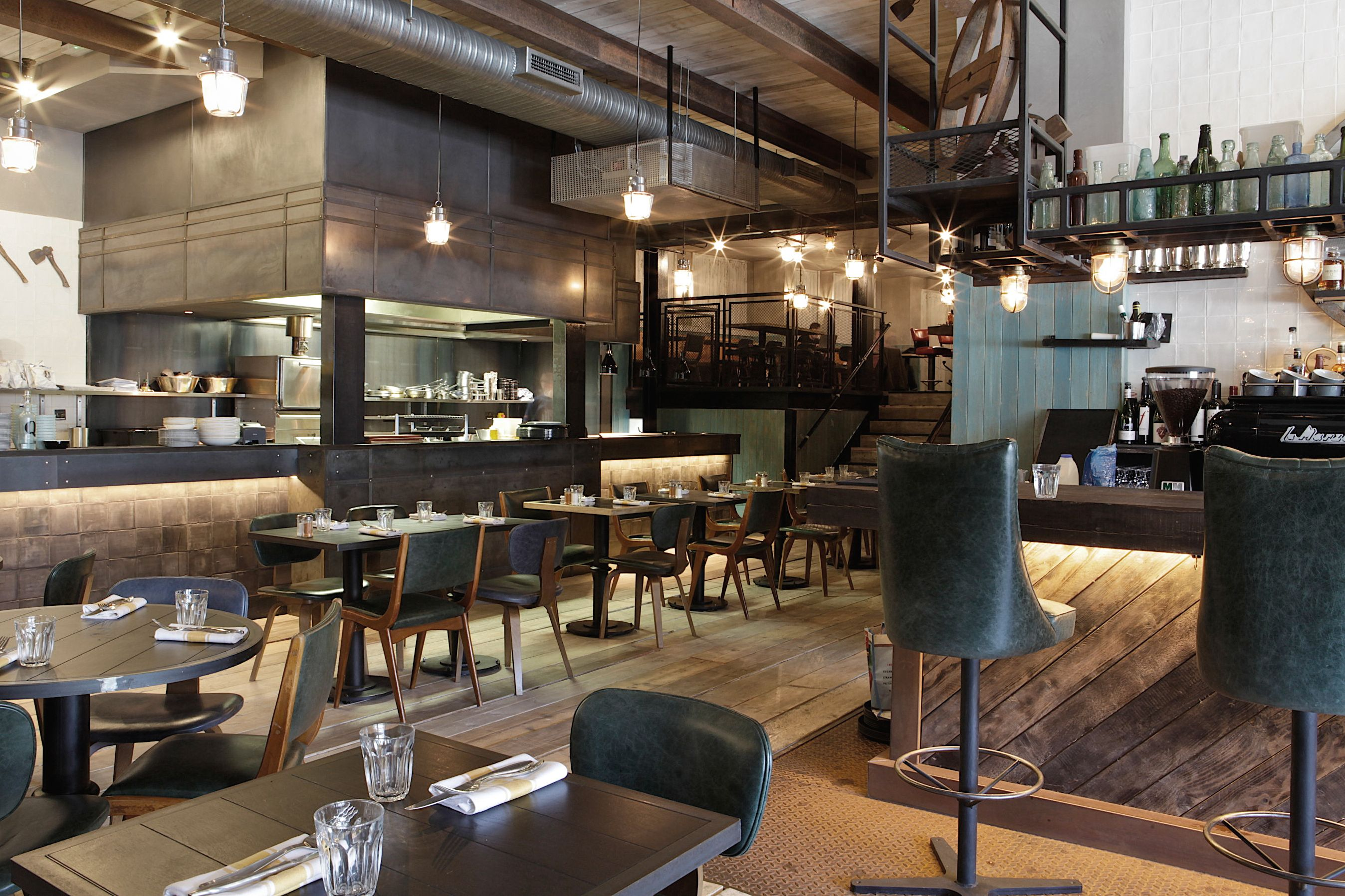 EXPOSED DUCTING, SHOW KITCHEN AT Q GRILL BY ALEXANDER WATERWORTH INTERIORS