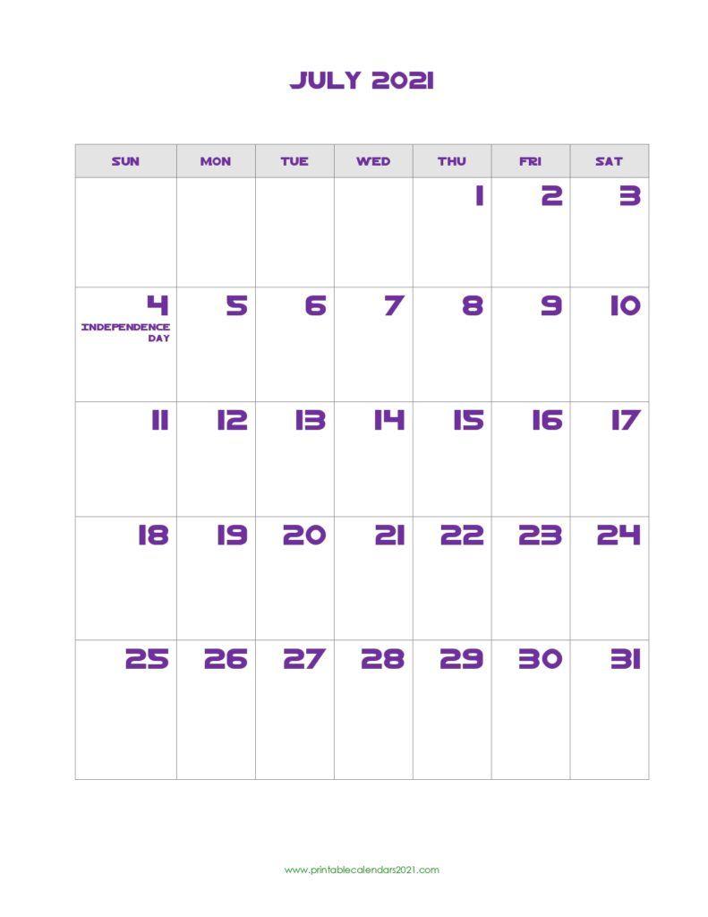 Printable Calendar July 2021 Printable 2021 Calendar With Holidays In 2020 Calendar Printables Printable Calendar Design Printable Calendar Template