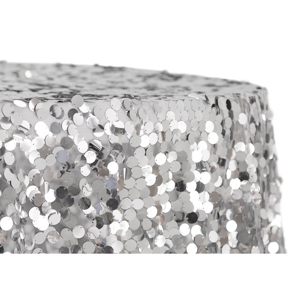 Large Payette Sequin 132 Round Tablecloth Silver In 2020