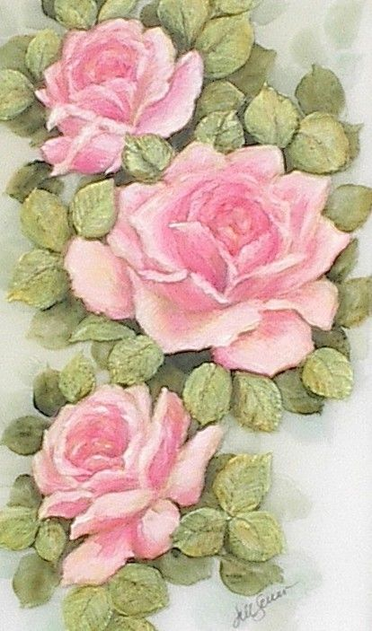 vintage inspired painted roses