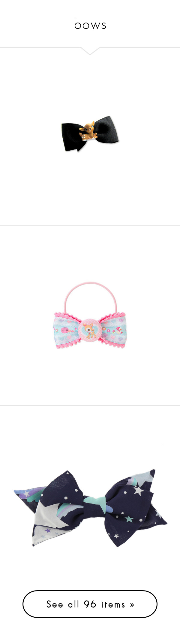 """""""bows"""" by bunnylalonde ❤ liked on Polyvore featuring bows, hairbows, accessories, hair accessories, bow, hair, filler, hair bow accessories, hair bows and head"""