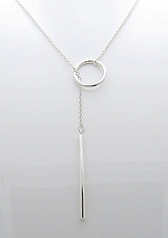 437547c96a44f Sterling Silver Circle Bar Lariat Necklace