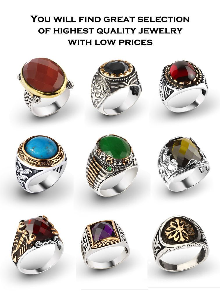 c4aee8a78f 925 K Sterling Silver Turkish Men Rings with Gemstones From Manufacturer  TURKEY