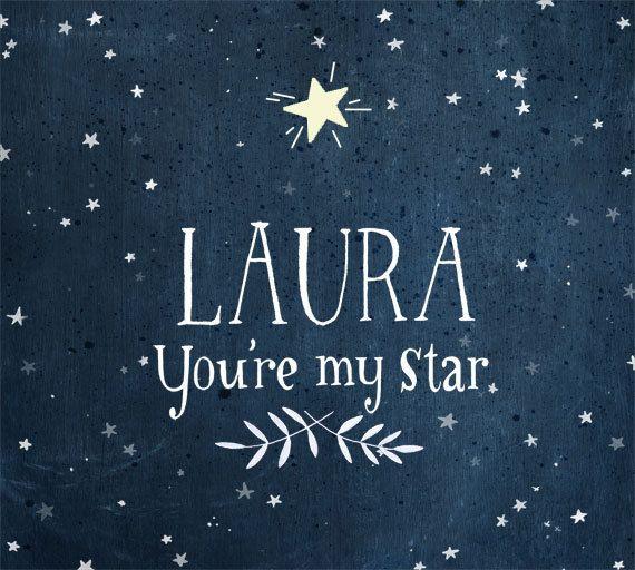 You're My STAR  Glow in the dark  Personalized print  door evajuliet
