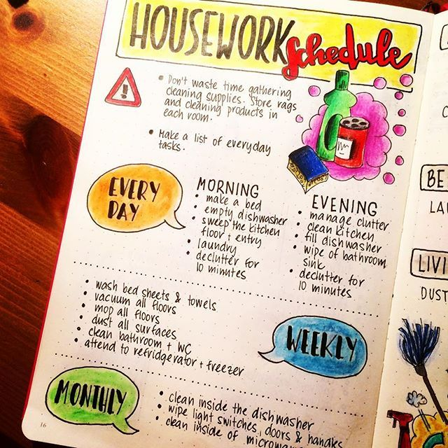 My housework schedule, Page I #bulletjournal #bulletjournaling - housework schedule
