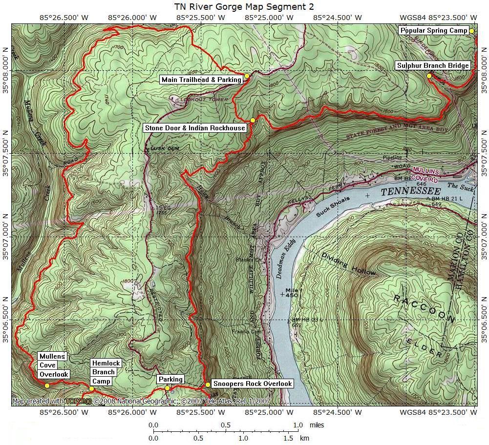Prentice Cooper Trails Cumberland Trail Org Tennessee River - Tn river map