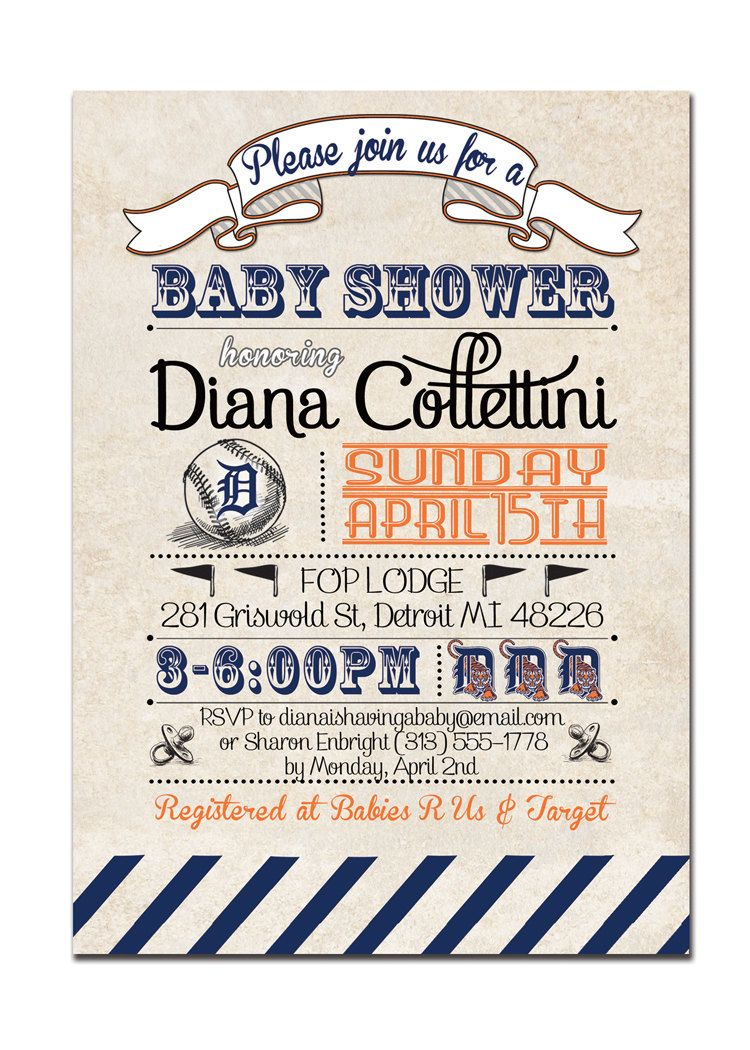 Detroit Tigers Baby Shower Invitation Baseball Invitation Vintage ...