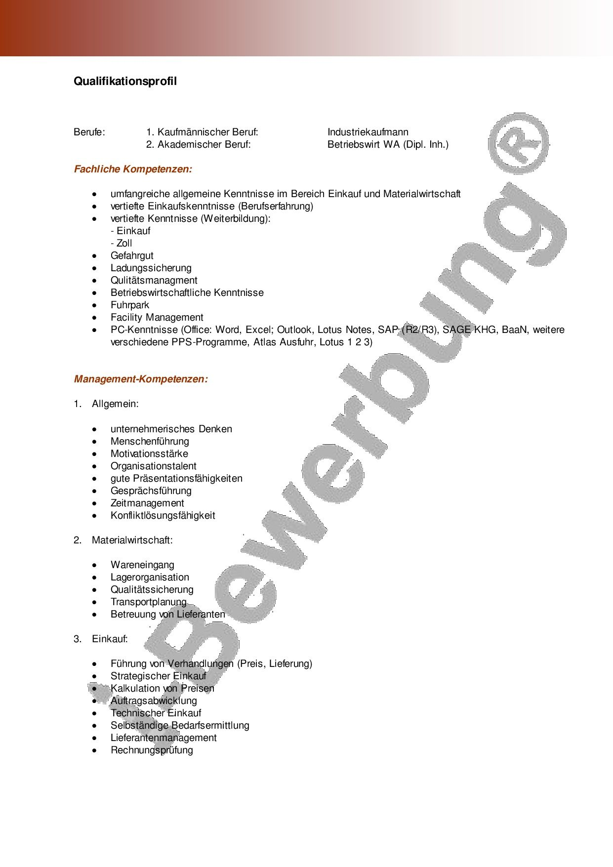 Qualifikationsprofil Zur Initiativbewerbung Vorlage Vorlagen Lebenslauf Lebenslauf Bewerbung