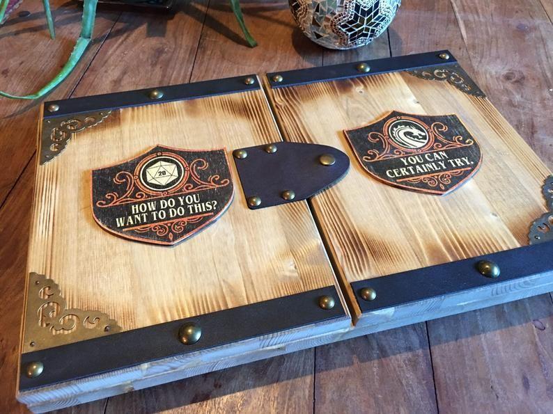 Customizable handmade solid wood dungeon masters screen