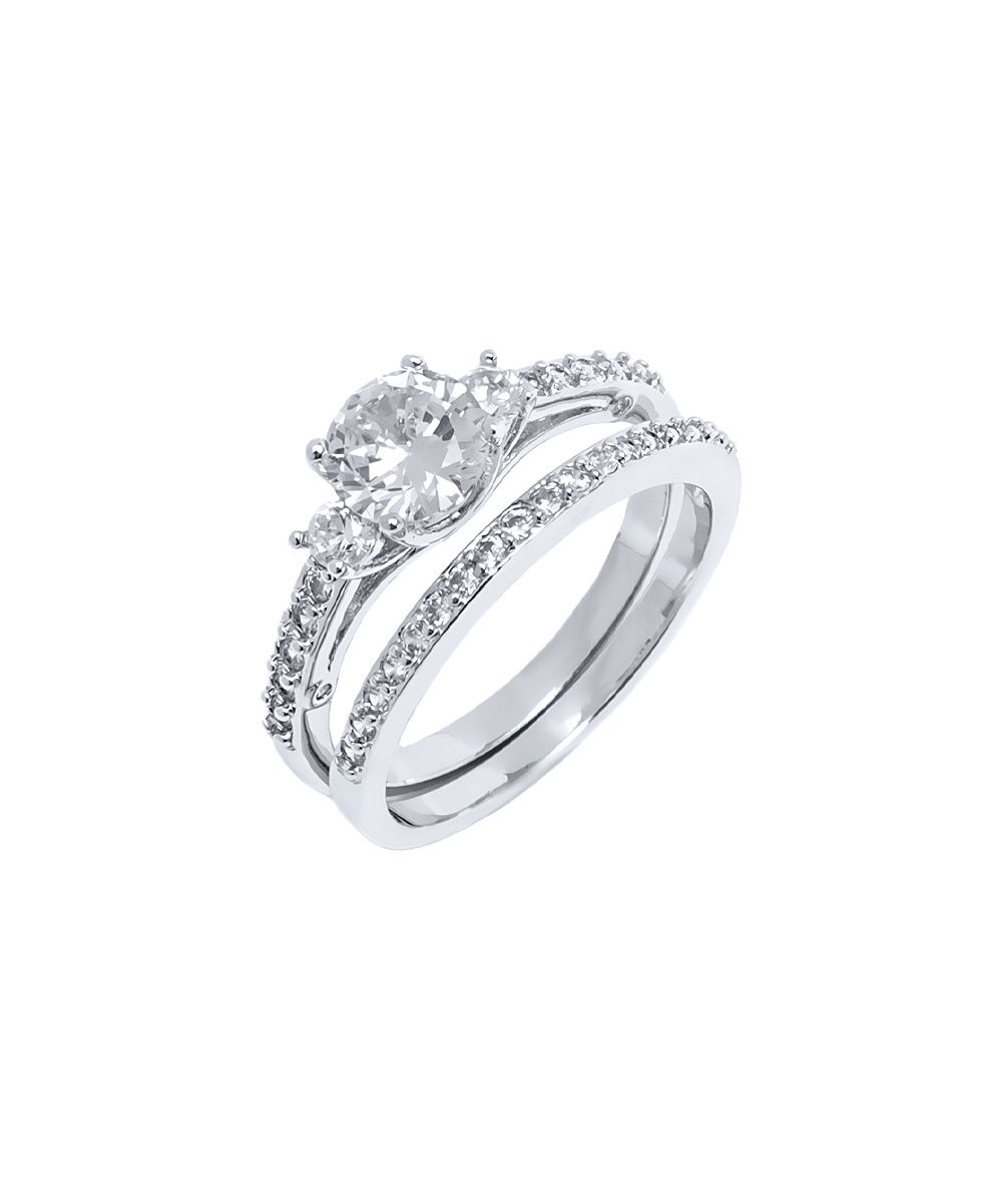 Cubic Zirconia White Gold RoundCut Engagement Ring Set Products