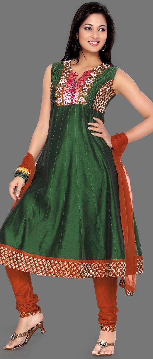Dark Olive #Green Chanderi #Silk Churidar Kameez @ $69.04