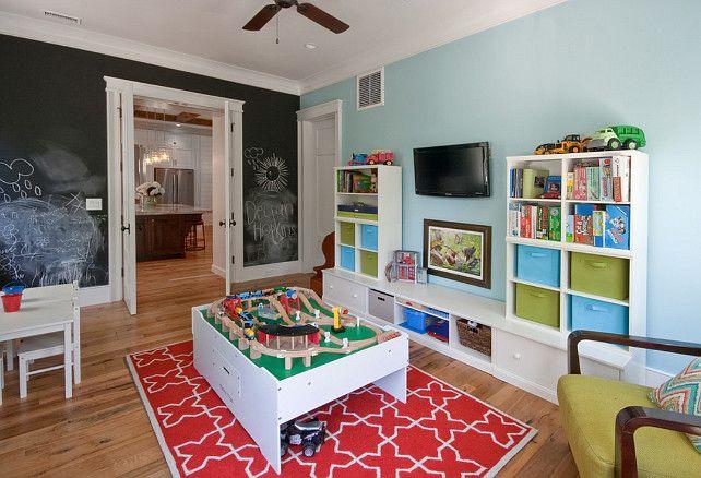 Playroom Blue paint color Chalkboard paint Playroom