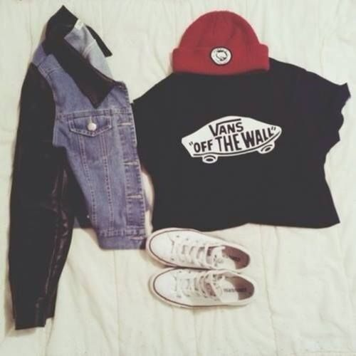 d8133fb2d5 vans off the wall tshirt and skater girl style. love the beanie and jean  jacket.