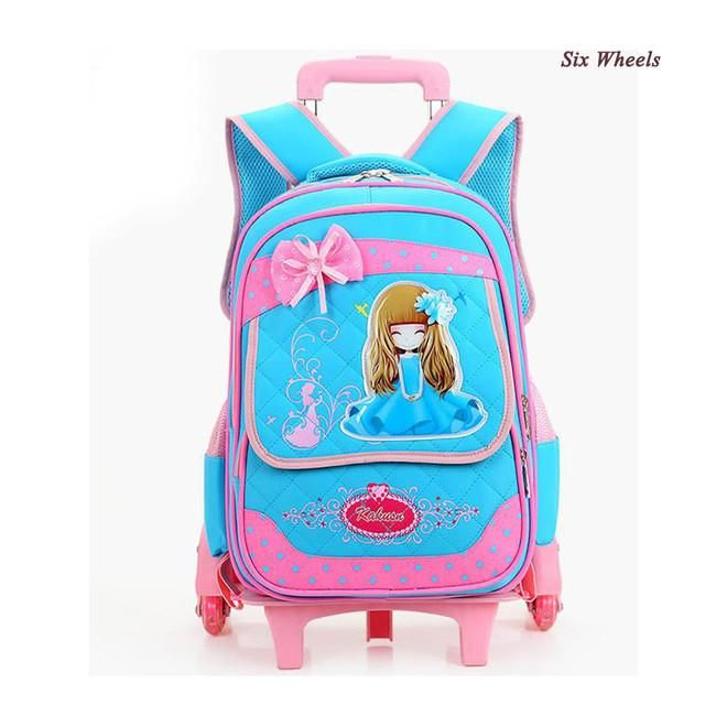 bcc890855e New Arrival Flash three Wheel Girl Trolley School Bags Cute Cartoon Girl Wheeled  Backpack School Beautiful Bow Waterproof Canvas