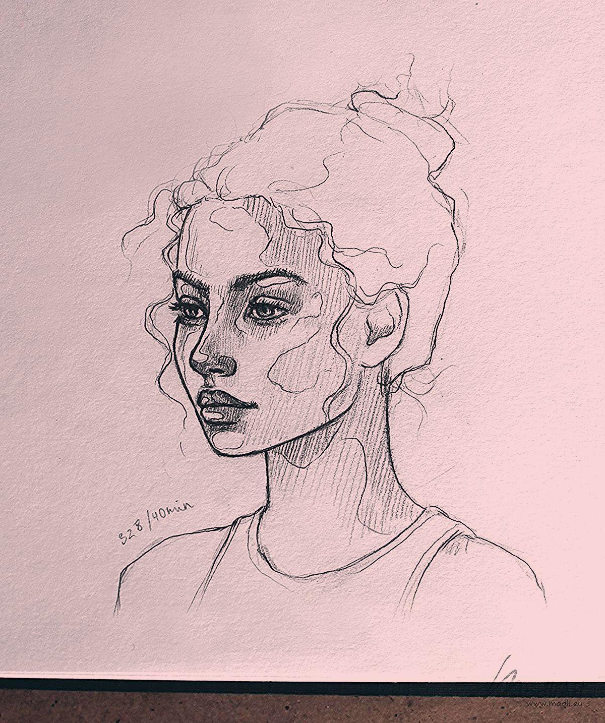 My Sketchbook Art I Drawing Girls I Cute dreamy portrait Sketch of a girl I Drawing poses I Art Ideas I Fantasy Pencil draw doodle I Line Art face Ske…