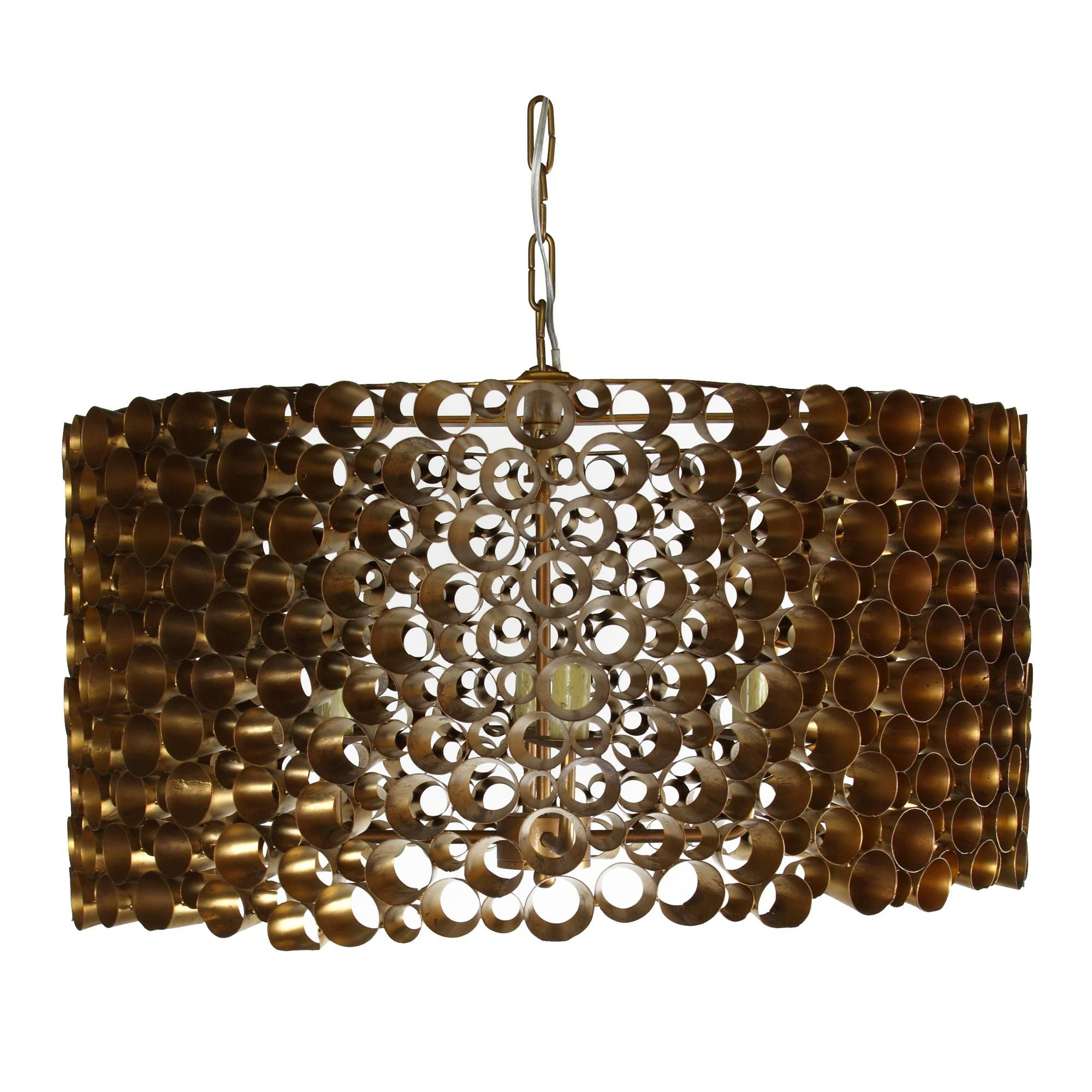 Drum Chandelier made up of individual lengths of gold pipe with