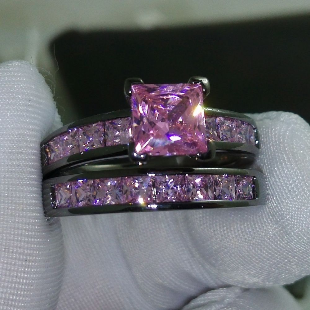 Sz 510 Princess Cut Pink Sapphire 10kt Black Gold Filled Wedding Ring Set  Gift