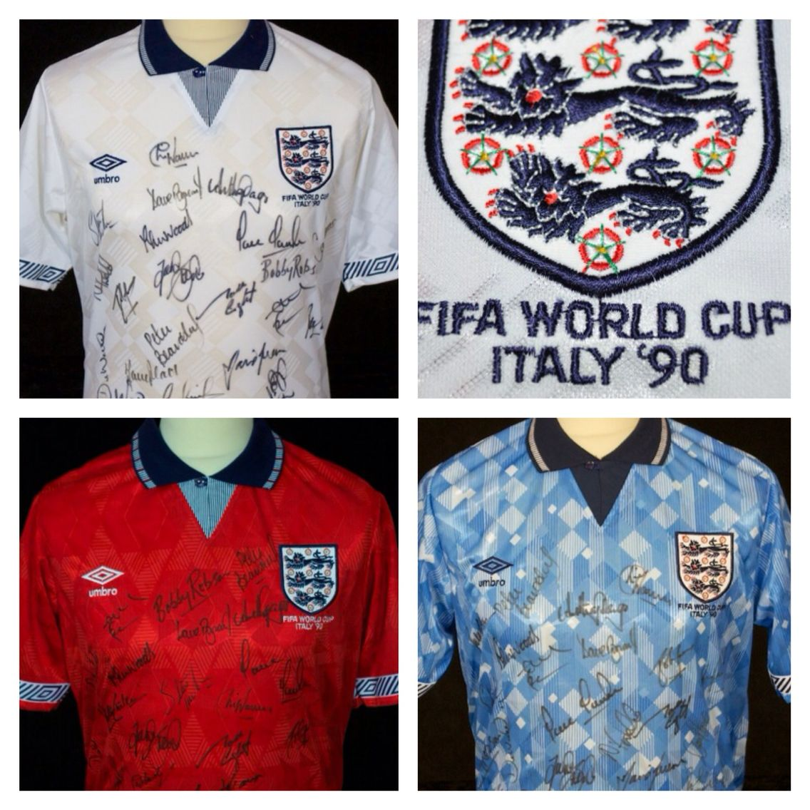 Tony Dorigo S England Shirts From 1990 World Cup Finals In Italy All Squad Signed England Shirt Football Shirts Football Uniforms