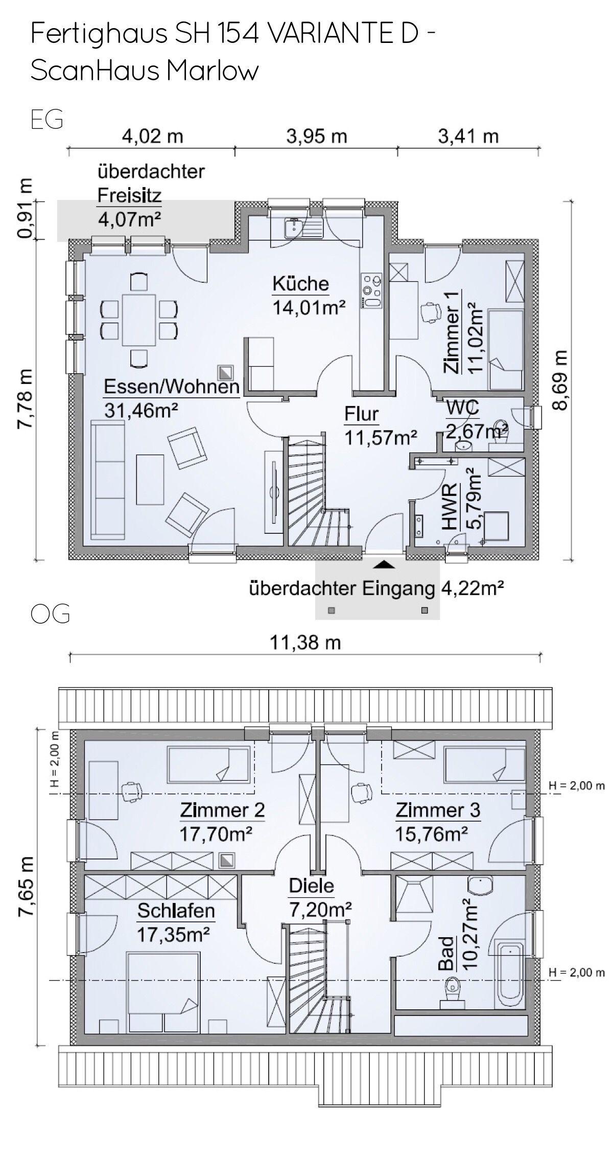 Grundriss Einfamilienhaus mit Erker 5 Zimmer, ca. 130 qm