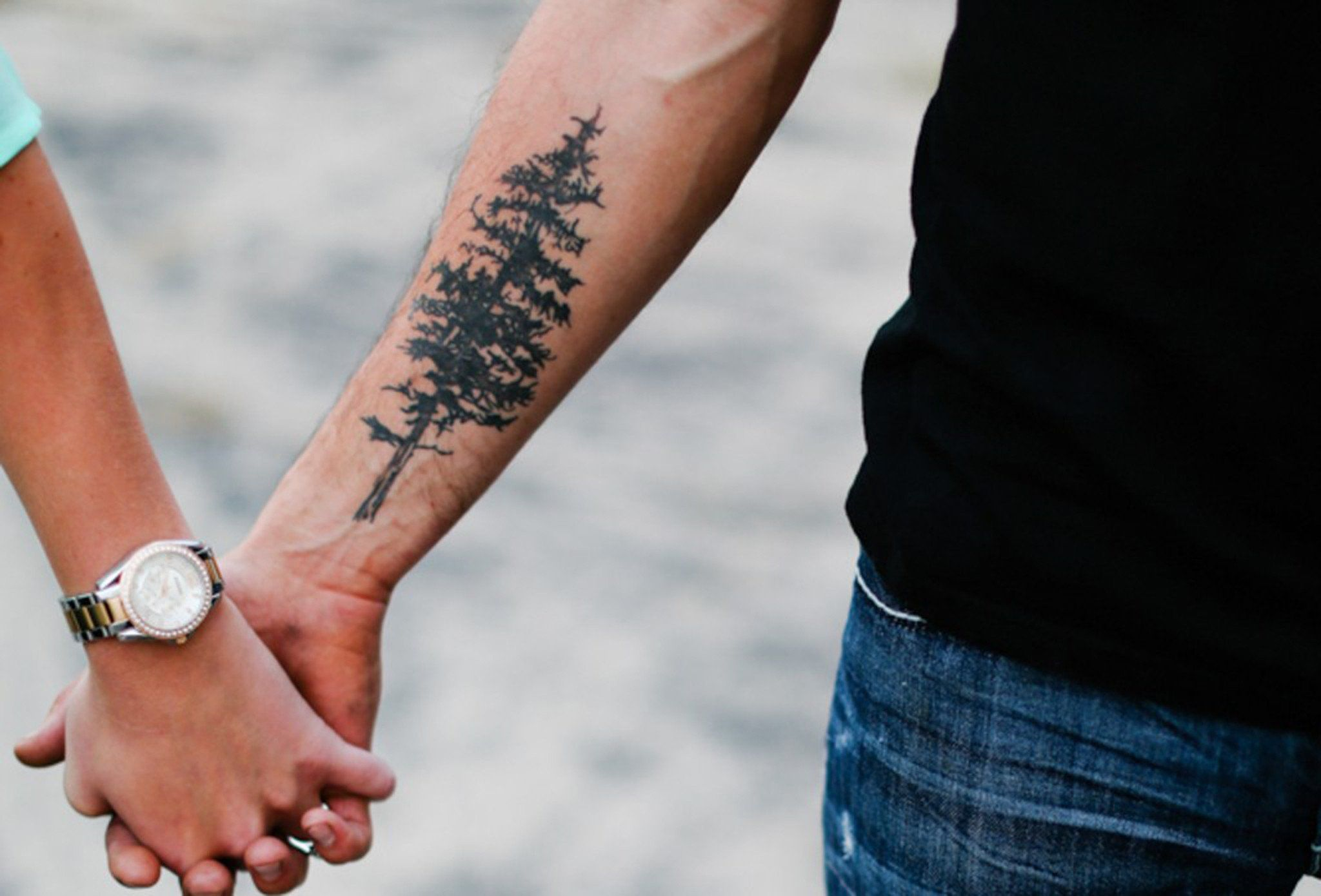 Evergreen Pine Tree Forearm Tattoo Ideas for Men Couple at