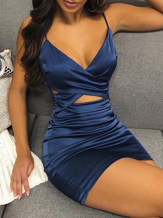 Boho Prom Dress, Spaghetti Strap Crisscross Cutout Bodycon Dress Attractive Dress 2