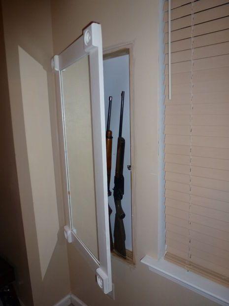 Hidden In Wall Gun Cabinet With Hidden Keypad Storage Hidden Gun Hidden Gun Storage Gun Storage
