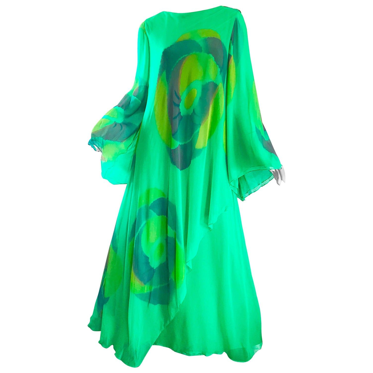Vintage Travillia Couture 1970s Hand Painted Kelly Green Silk