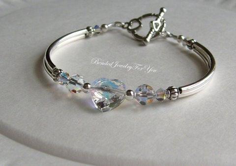 Aurora Borealis Swarovski Cyrstal AB Heart Bangle Bracelet