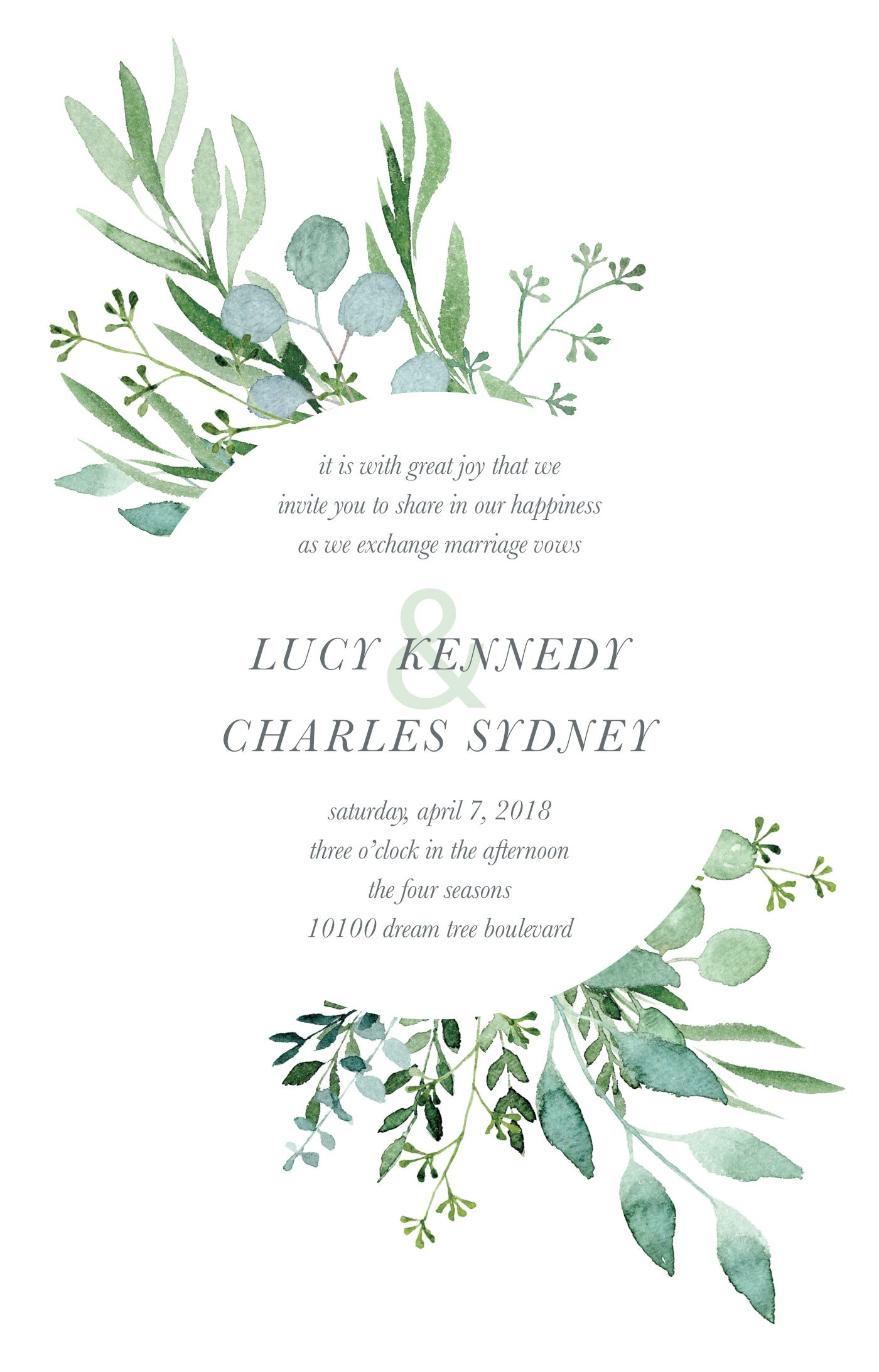 Watercolor Greenery Invitation Weddings By Vistaprint In 2020 Country Wedding Invitations Custom Wedding Invitations Wedding Invitation Templates