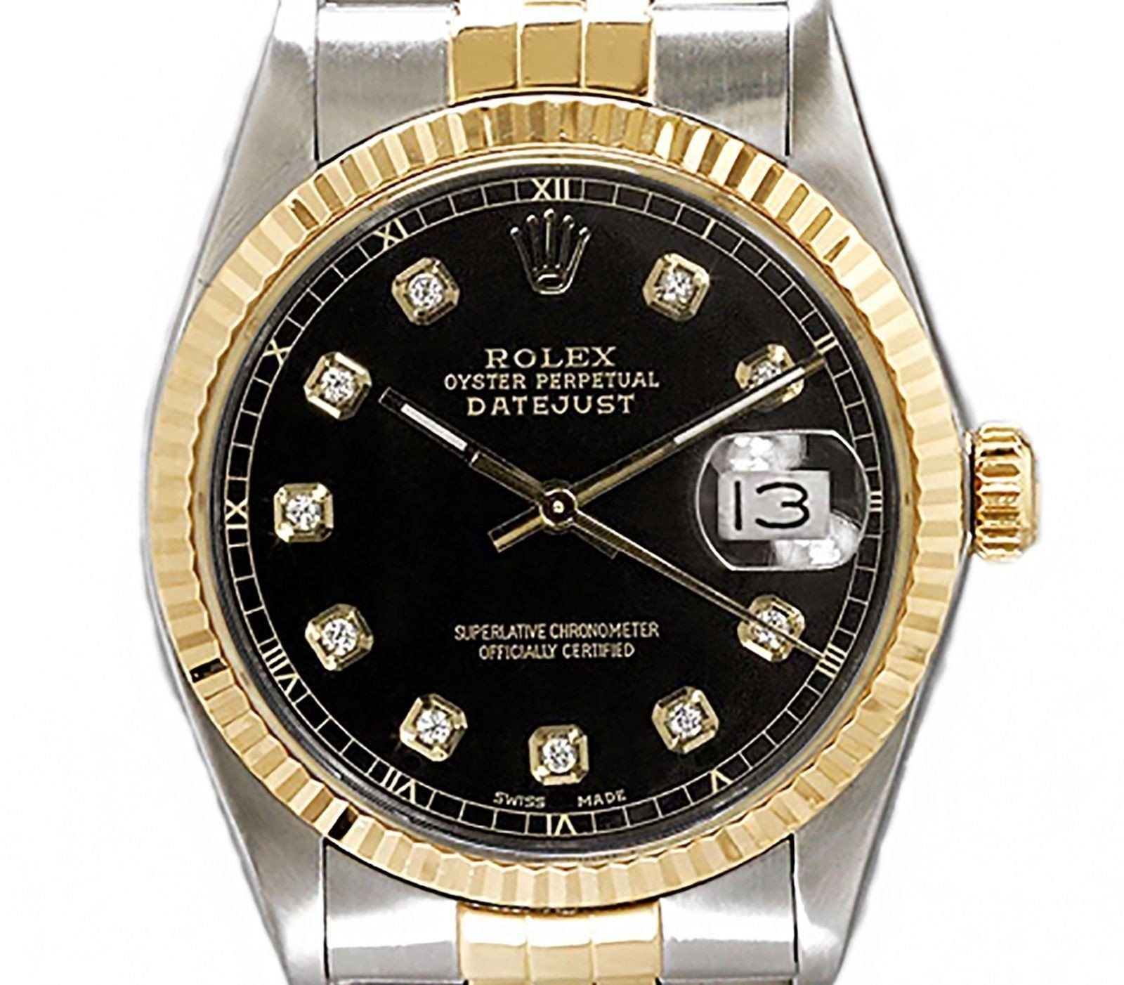 Rolex Men S Datejust Two Tone 18k Gold Fluted Bezel With Custom Black Diamond Dial Rolex Watches For Men Rolex Gold Flute