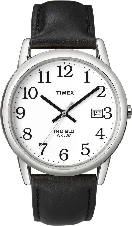 Timex Men's T2H281 Easy Reader Black Leather Strap Silver