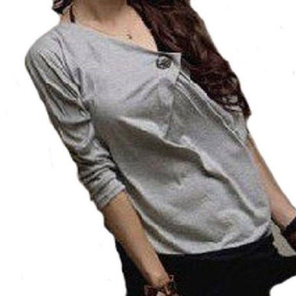 Amazon.co.jp: 「ホシキタ」レディースファッション ワンショルダーセクシーカットソー 長袖 ボタン カジュアル シンプル 大人 ゆったり: 服&ファッション小物通販