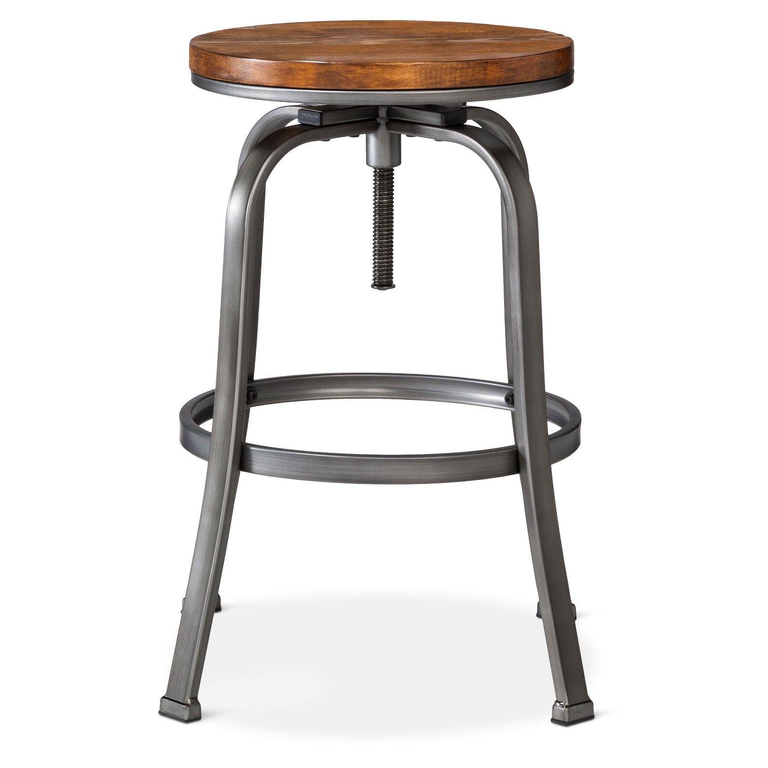 Dakota Adjustable Wood Seat Barstool Threshold Adjustable Bar