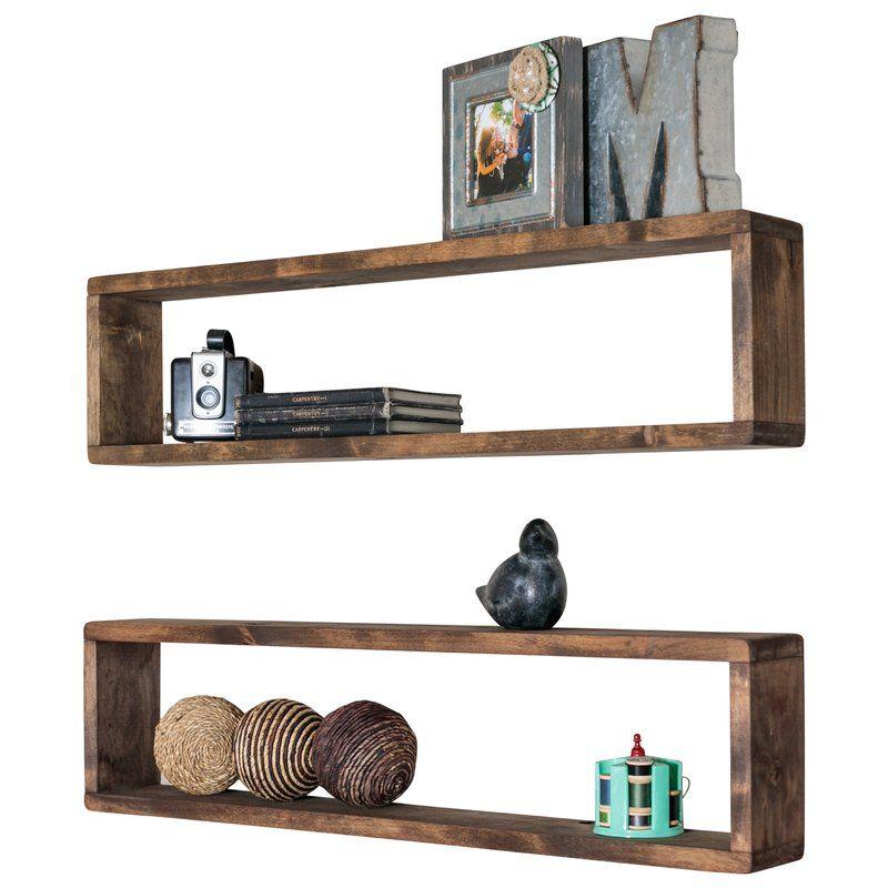 Hampden Stackable Long Box 2 Piece Wall Shelf Set With Images Box Shelves Shelves Wall Shelves