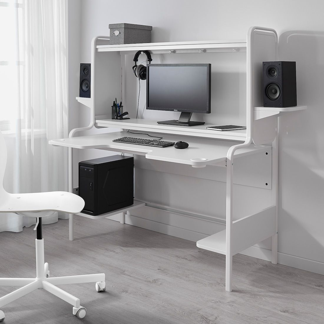 Fredde White Desk Ikea In 2020 Gaming Desk Designs Ikea Gaming Desk Gaming Desk
