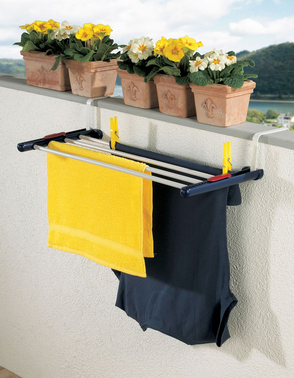 Over the balcony rail clothes drying rack - space-saving design can also  hang over